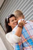 Romantic man hugging his girlfriend — Foto de Stock