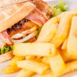 Club sandwich with potato French fries — Stock Photo #43221047