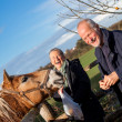 Elderly couple petting a horse — Stock Photo #43221125