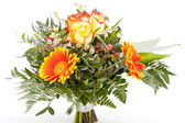Vivid orange gerbera daisy in a bouquet — Stok fotoğraf