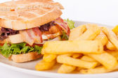 Club sandwich with potato French fries — Stock Photo
