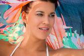 Beautiful vivacious woman at the seaside — Stock Photo
