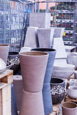 Glazed and unglazed ceramic flower pots — Stock Photo