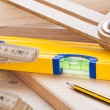 Carpenters level, ruler and right angle — Stock Photo #47011801