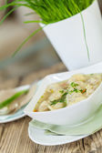 Dish of savory pork tortellini in broth pelmeni russian — Stok fotoğraf