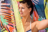 Beautiful vivacious woman at the seaside — Stock Photo