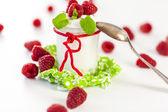 Raspberries and yoghurt or clotted cream — Stock Photo