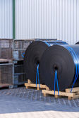 Rolls of black industrial plastic — Stock Photo