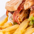 Club sandwich with potato French fries — Stock Photo #48670205