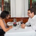 Romantic couple in restaurant — Stock Photo #48675297