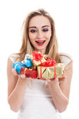 Model carrying presents — Foto de Stock