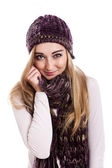 Model in beanie and scarf — Stock Photo