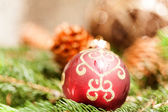 Christmas ball with pine cones — Stock Photo