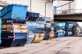 Rows of empty garbage tips — Stock Photo