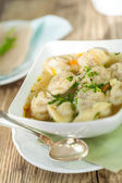 Dish of savory pork tortellini — Stock Photo