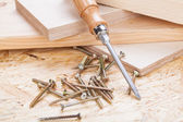 Phillips head screwdriver and wood screws — 图库照片