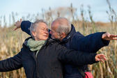 Elderly couple celebrating the sun — Stock Photo