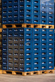 Stacks of beverage bottle crates — Stock Photo
