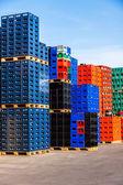 Stacks of beverage bottle crates — Stock Photo