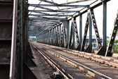 Railroad tracks on scale bridge — Stock Photo