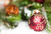 Shiny red bauble — Stock Photo