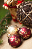 Shiny red and gold baubles — Стоковое фото