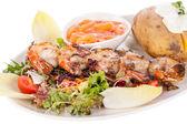 Grilled prawns with endive salad — Stok fotoğraf