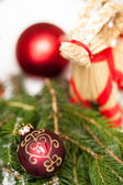 Shiny red and gold baubles — Stock fotografie