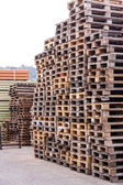 Stacks of wooden pallets — Stock Photo