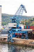 Shipyard with containers and cranes — Stock Photo