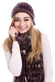 Model in beanie and scarf — 图库照片