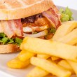 Club sandwich with potato French fries — Stock Photo #49585415
