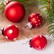 Pretty red polka dot Christmas bauble — Stock Photo #49587489