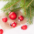 Pretty red polka dot Christmas bauble — Stock Photo #49587633