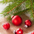 Pretty red polka dot Christmas bauble — Stock Photo #49587987