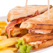 Club sandwich with potato French fries — Stock Photo #49588027