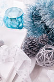 Stylish blue and silver Christmas table setting — 图库照片