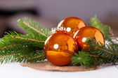 Shiny bright copper colored Christmas balls — Foto de Stock