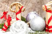 Christmas baubles on a tree — Zdjęcie stockowe
