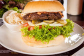 Cheeseburger with cole slaw  — 图库照片