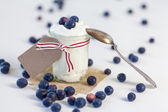 Yogurt with blueberries — Stock Photo