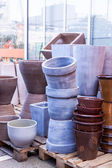 Glazed and unglazed ceramic flower pots — ストック写真