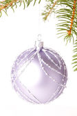 Christmas ball hanging from a branch of a fir tree — Zdjęcie stockowe