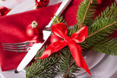 Red themed Christmas place setting — Foto Stock