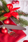 Rouge le thème christmas place setting — Photo