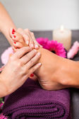 Woman having a pedicure treatment at a spa — Foto de Stock