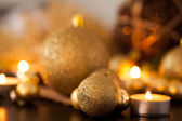 Warm gold and red Christmas candlelight background — Stock fotografie