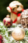 Ornament ball on pine leaves — Stockfoto