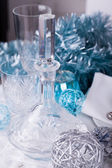 Stylish blue and silver Christmas table setting — Photo
