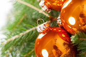 Shiny bright copper colored Christmas balls — Stock Photo